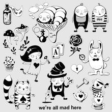 Set Of  Characters Of Wonderland. Alice In Wonderland, White Rabbit, Mad Hatter, Caterpillar, Tweedledum And Tweedledee.. Playing Cards, Pocket Watch, Key, Cup And Poison. Vector Posters,illustration