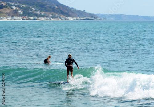 Surfing in Malibu California Wallpaper Mural