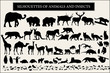 Collection of animals silhouettes on white background