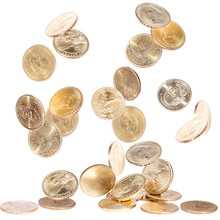 Falling American Dollar Coins Isolated On White