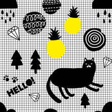 Wallpaper In Modern Scandinavian Style With Cats And Pineapples.