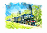 Ancient steam train running on tracks in the countryside on a sunny day. Watercolor painting.