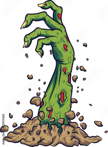 Foto Cartoon zombie hand out of the ground