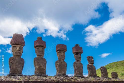 I 7 moai di Ahu Nau Nau Canvas Print