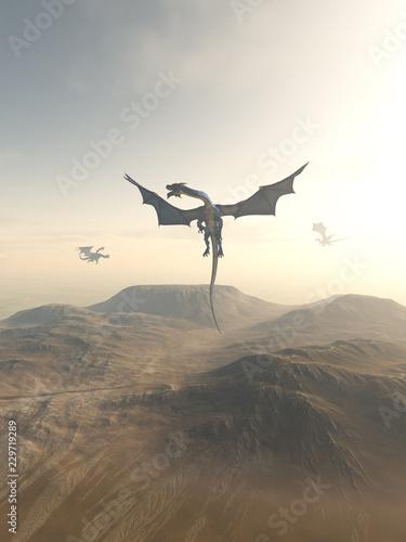 Naklejka premium Smoki okrążające górski krajobraz - ilustracja fantasy