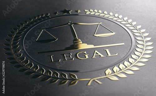 Cuadros en Lienzo Legal Advice, Scales Of Justice, Golden Law Symbol Over Black Paper Background