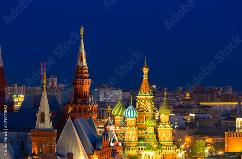 Staande foto Moskou Panoramic view of the Red Square with Moscow Kremlin and St Basil's Cathedral in the night with blue sky, Moscow, Russia