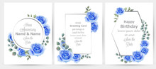 Watercolor Blue Rose Flowers Cards Set Collection Vector. Vintage Greeting Card, Wedding Invitation, Thank You Note. Summer Floral Decor. Flower Wreath Frames Bouquets