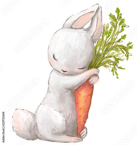 Fotografia, Obraz Little hare with carrot.