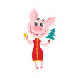 Pig in chinese clothes with christmas tree isolated on white