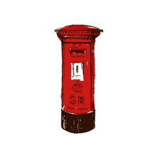 Traditional, British, Red, Royal Mail Pillar Box. Sketch Style Ink Pen.