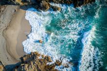 Aerial View Of An Empty Beach Near Lumio, Corsica, France