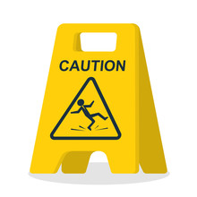 Floor Sign Of Danger. Wet Floor Sign. Cleaning In Progress. Falling Silhouette Man Is On The Floor. Pictogram Of Danger. Vector Illustration Flat Design. Isolated Yellow Symbol On White Background.