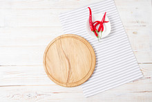 Wooden Desk, Striped Napkin,re...