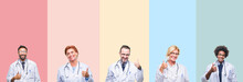 Collage Of Professional Doctors Over Colorful Stripes Isolated Background Doing Happy Thumbs Up Gesture With Hand. Approving Expression Looking At The Camera Showing Success.
