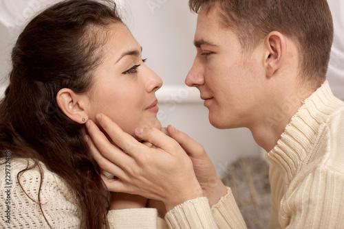 romantic couple closeup portrait, love concept