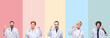 Collage of professional doctors over colorful stripes isolated background pointing finger up with successful idea. Exited and happy. Number one.