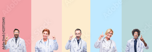 Fotografía Collage of professional doctors over colorful stripes isolated background pointing finger up with successful idea