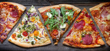 Pieces of pizza of different various types on old retro boards banner concept - 229732806