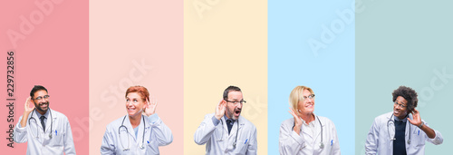 Collage of professional doctors over colorful stripes isolated background smiling with hand over ear listening an hearing to rumor or gossip Fototapet
