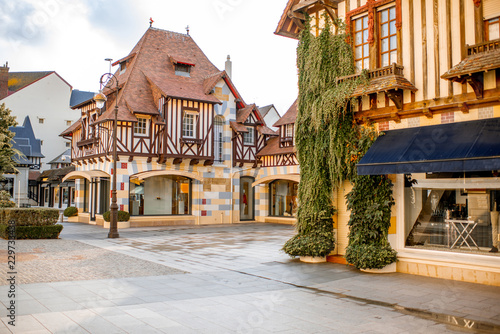 Lieu d Europe Street view with beautiful old houses in the center of Deauville town, Famous french resort in Normandy