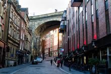 NEWCASTLE UPON TYNE, ENGLAND - JANUARY 28, 2018: City Centre Of Newcastle Upon Tyne In North East England, United Kingdom. Tyne Bridge In The Background