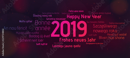 Foto  2019 Happy New Year Banner colorful Background