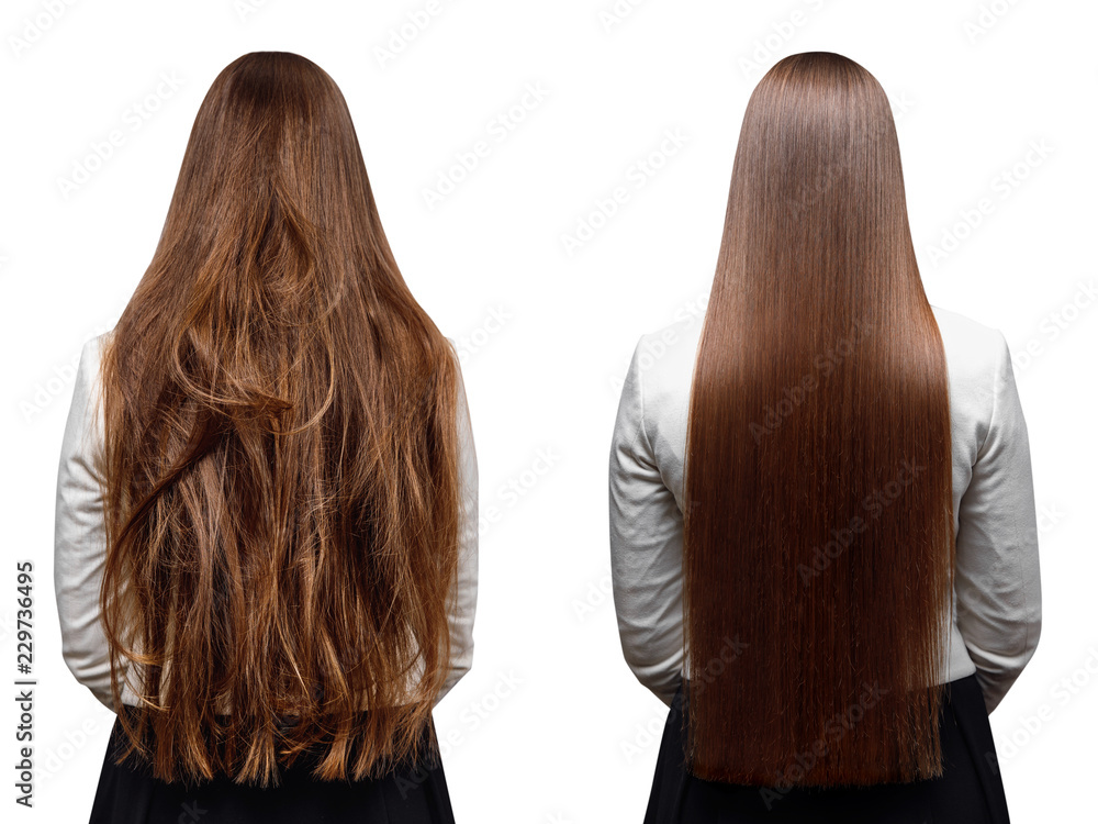 Fototapeta Sick, cut and healthy hair care keratin.