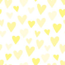 Seamless Pattern Of Yellow Hearts. Concept For Baby Shower, Birthday, Love, Valentines Day, Texture, Background, Wallpaper, Wrapping Paper, Print For Clothes, Cards, Banner. Vector Illustration