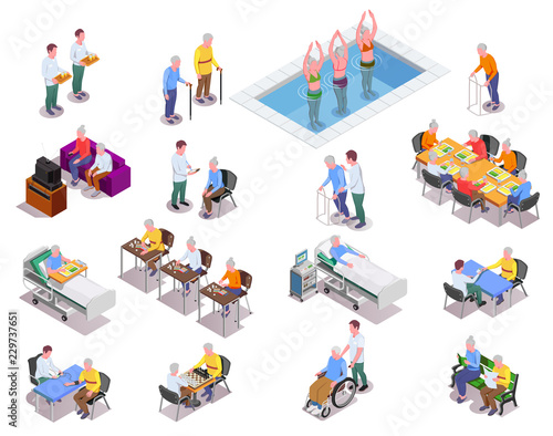 Photo  Nursing Home Isometric Icons Set