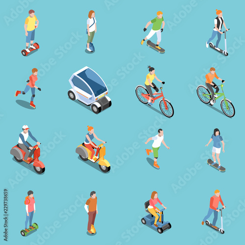Fotomural  Personal Eco Transportation Icons Set