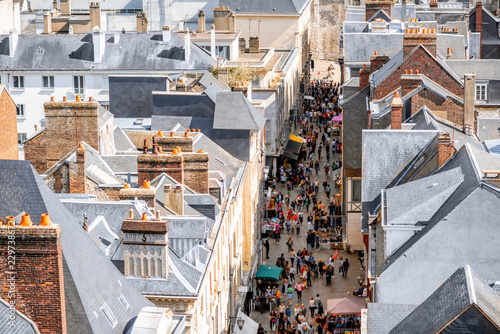 Aerial citysape view of Rouen with central pedestrian street crowded with people in Normandy, France - 229738672