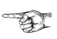 Hand Gesture. Forefinger. Hand Drawn Illustration Converted To Vector