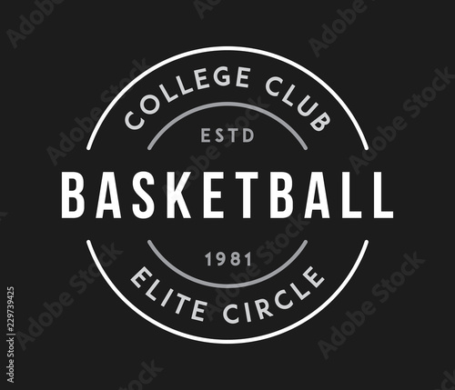 Foto basketball college club circle white on black