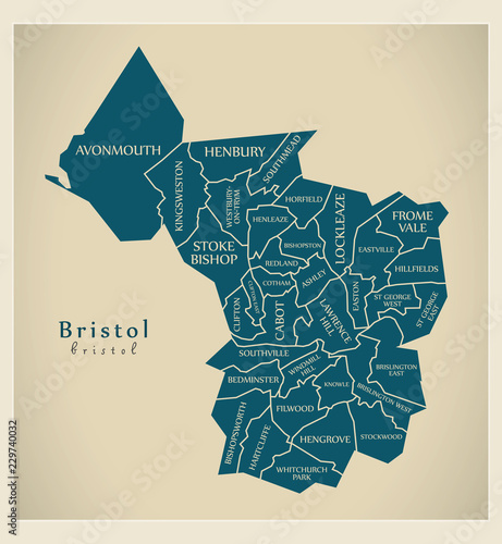 Photo Modern City Map - Bristol city of England with wards and titles UK