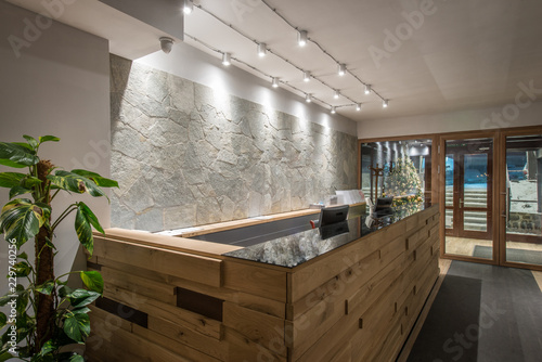 Wodeen reception desk in luxury hotel interior Slika na platnu