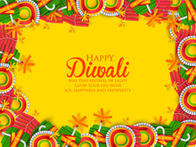 Colorful Fire Cracker On Happy Diwali Background For Light Festival Of India
