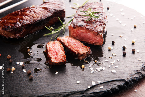 Fotobehang Grill / Barbecue Barbecue Rib Eye Steak or rump steak - Dry Aged Wagyu Entrecote Steak