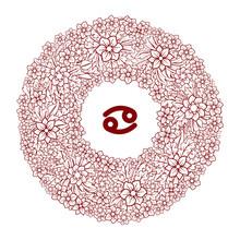 Zodiac Sign. Floral Decoration...