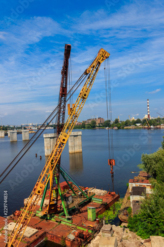Foto op Canvas Poort River cargo port in Kiev, Ukraine