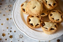 Mince Pies On Plate For Christmas