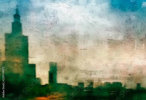Fototapeta City abstract painting obraz