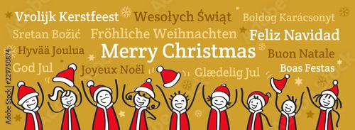 Jubelnde Strichmännchen in Nikolauskostümen, Banner, Weihnachtsgruß, Fröhliche W Canvas Print