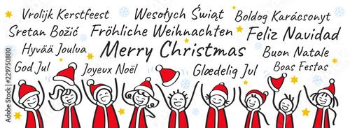 Frohe Weihnachten Auf Allen Sprachen.Jubelnde Strichmännchen In Nikolauskostümen Banner Weihnachtsgruß
