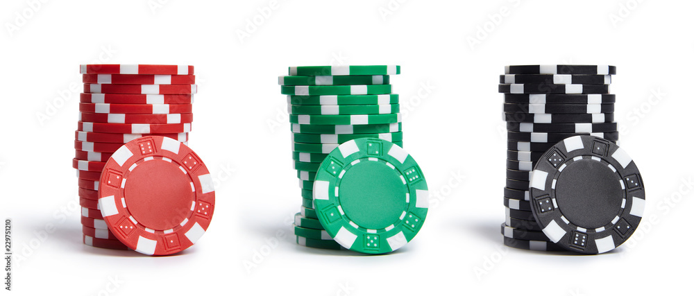 Fototapeta A stacks of casino chips isolated on white background. Collection.