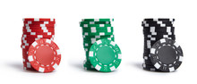 A Stacks Of Casino Chips Isolated On White Background. Collection.