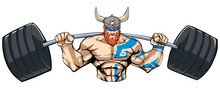 Illustration Of Strong Viking Warrior Doing Squats With A Barbell On White Background.