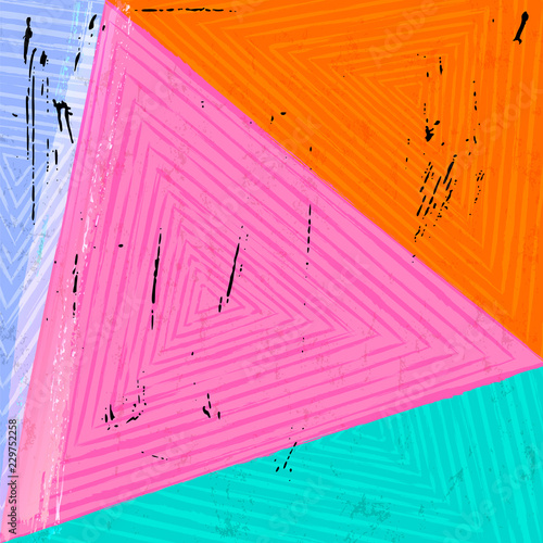 abstract geometric art pattern background, with triangles, stripes, paint strokes and splashes and grunge structure