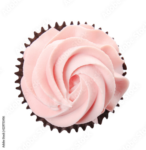 Photo  Delicious cupcake on white background