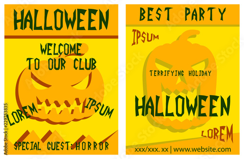 Poster Retro sign Set of flyers for halloween vector illustration. Templates of posters . Halloween party greeting cards.